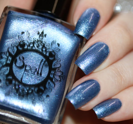 Image of ~Distant Ships~ periwinkle blue chrome w/tiny pink-violet microsparkles Spell nail polish!