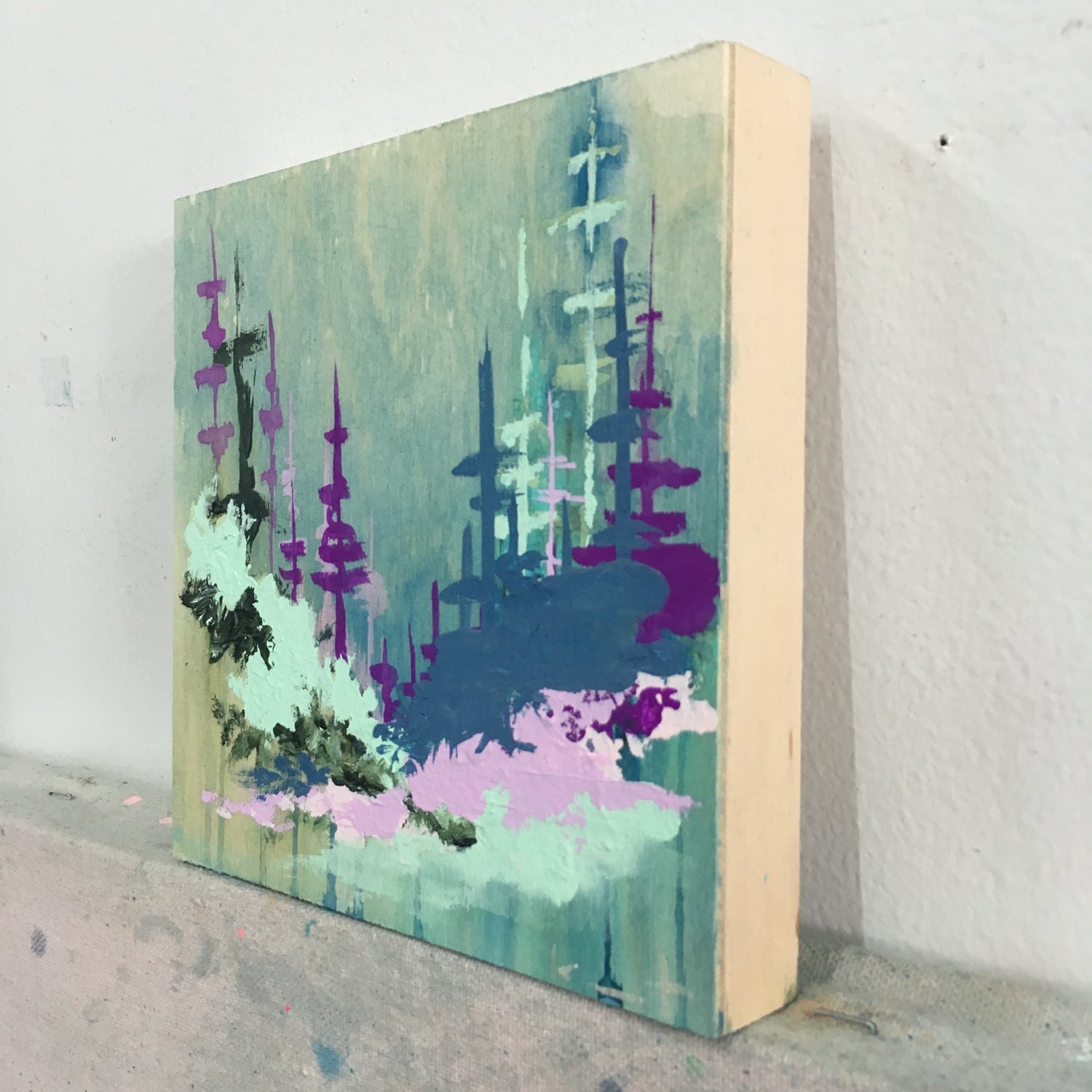 Image of tiny painting no. 48 (mint, prussian, lilac)