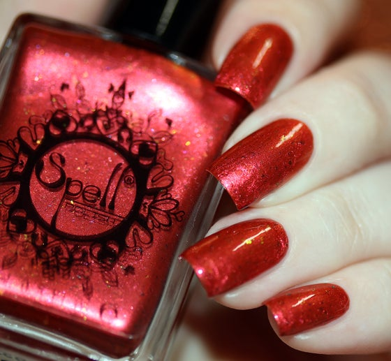 Image of ~Second Heartbeat~ crimson/orange duochrome w/iridescent flakes nail polish!