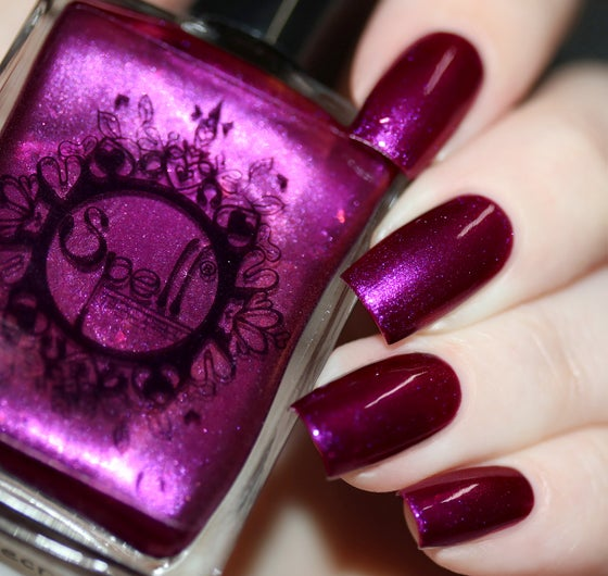 Image of ~Untold Secrets~ deep red-violet-orange duochrome w/iridescent flakes nail polish!
