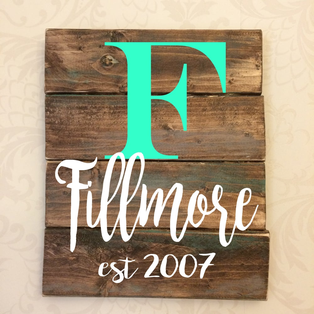 Image of 8X10 Personalized Family Name Rustic Sign