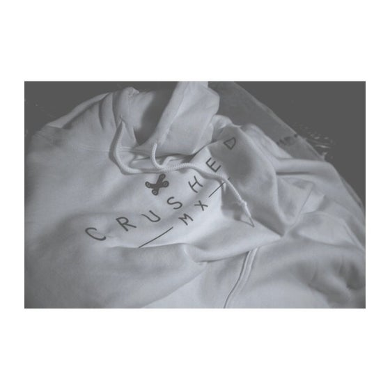 Image of White and Steel Grey Crushed MX Hoodie