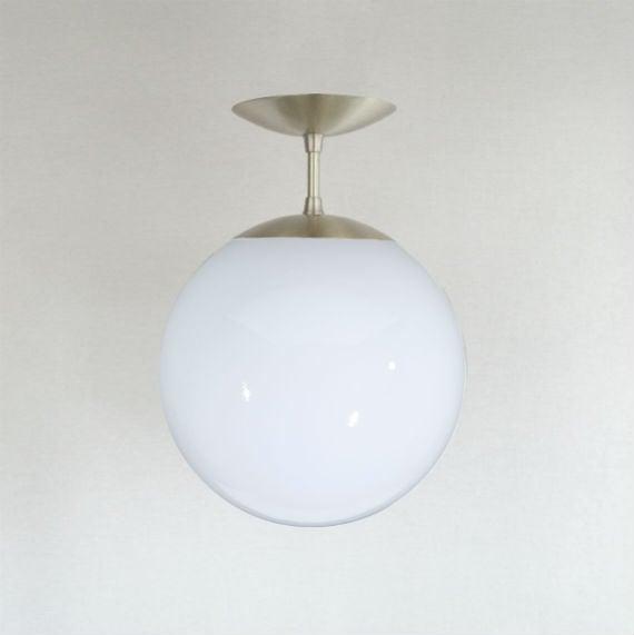 Orbiter 10 White Globe Semi Flush Pendant Light / Sanctum