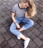 Image of Cute short sleeve print short sleeve top blouse