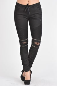 Image of Zippered Knee Jeans