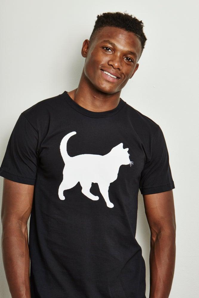 Image of guy's 100% organic cotton mini-mim cat tee