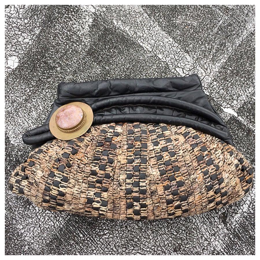 Image of Unique Vintage Boho Textile & Leather Clutch