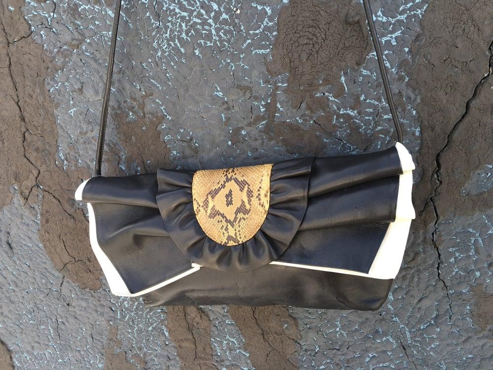 Image of Amazing 80s Leather & Snakeskin Ruffled Crossbody