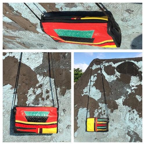 Image of Colorful Vintage Snakeskin+Leather Patchwork Crossbody