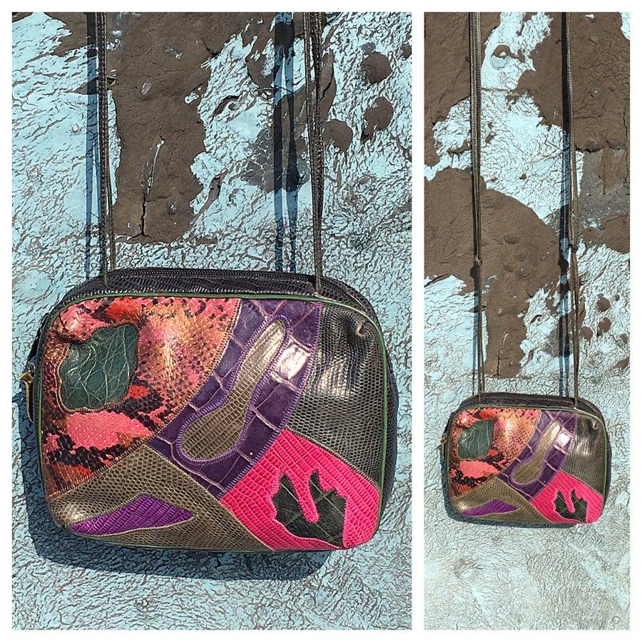 Image of Multi color Vintage Exotic Skins 80s Shoulder bag