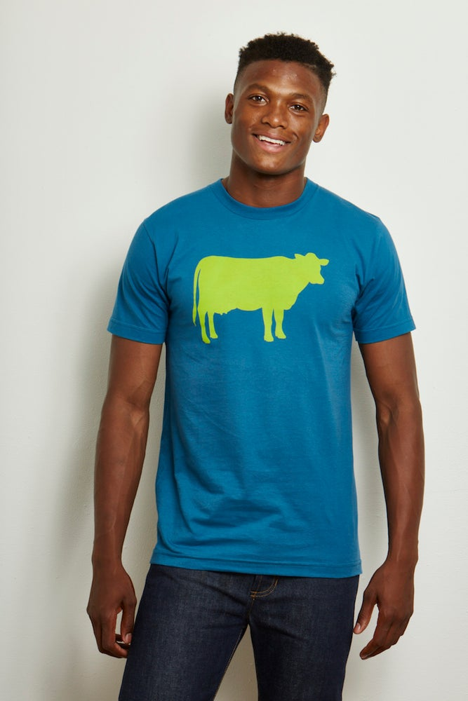 Image of guy's 100% organic cotton turquoise farm sanctuary cow tee