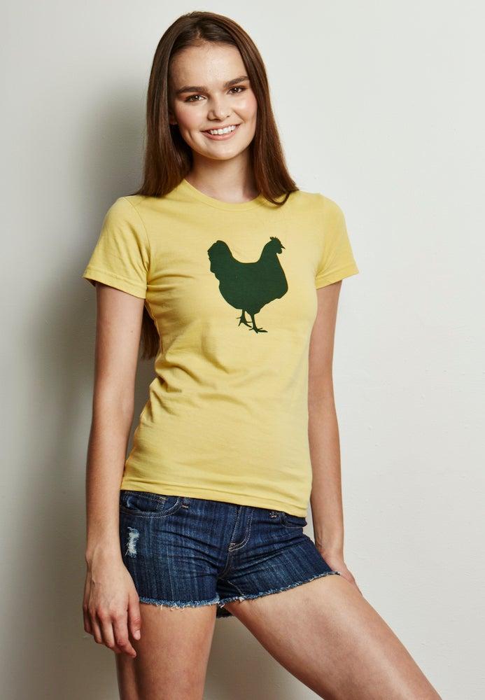 Image of girl's 100% organic cotton lemon yellow farm sanctuary chicken tee