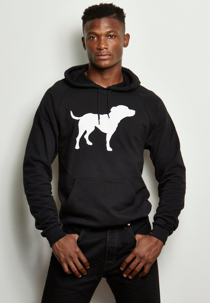 Image of guy's unisex-sized black/white tiny tim fleece hoodie