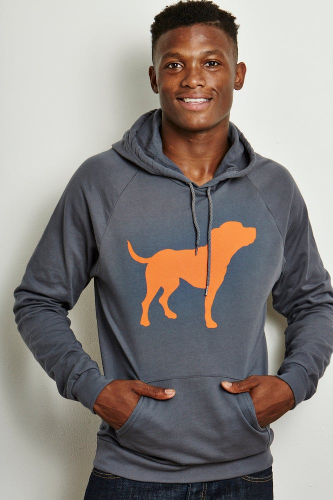 Image of guy's unisex-sized steel grey tiny tim fleece hoodie