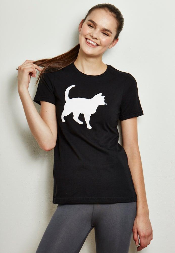 Image of girl's 100% organic cotton mini-mim cat tee
