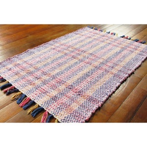 Image of Rag Rug - Pink, multi-colored / Handwoven / Eco-Friendly, upcycled