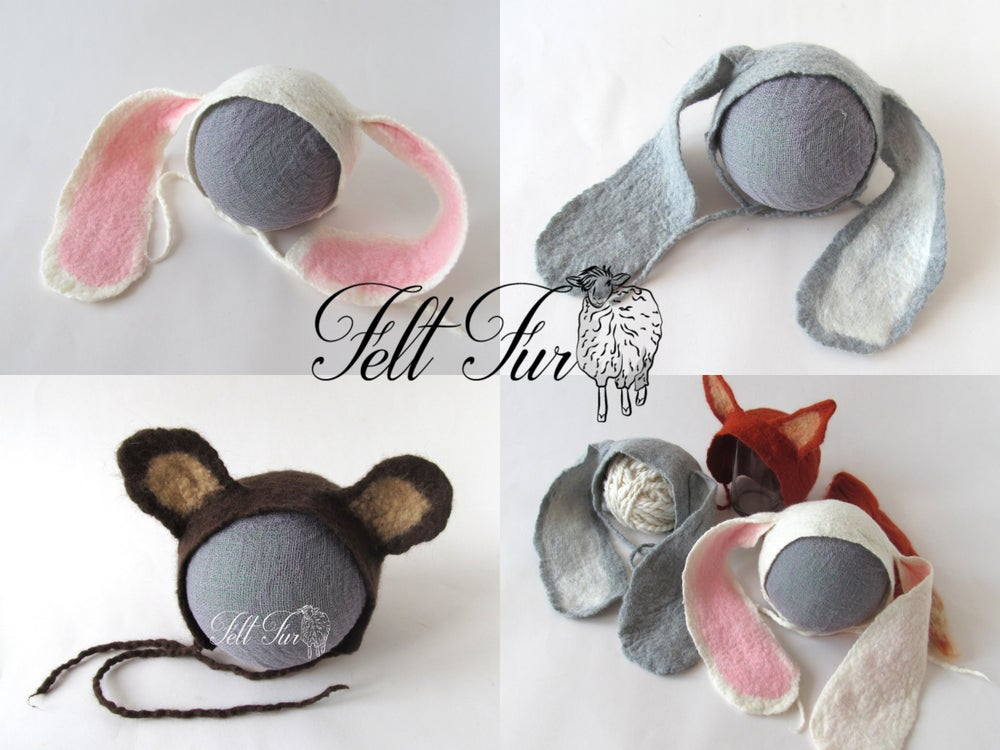 Image of Felted Newborn Hat Photoprops hat Baby Hat Infant Hat Baby Bear