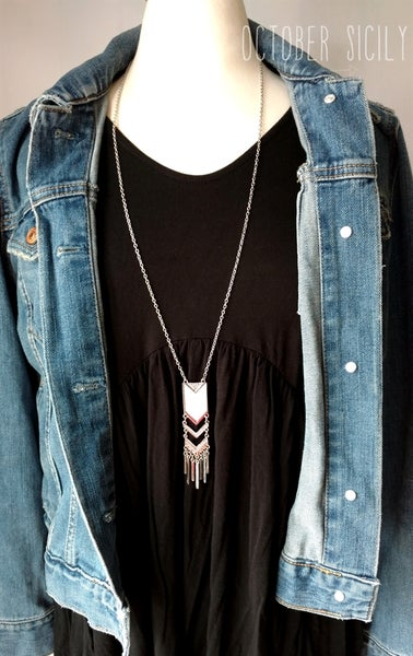 Image of Long Arrow Fringe Necklace | Gold or Silver