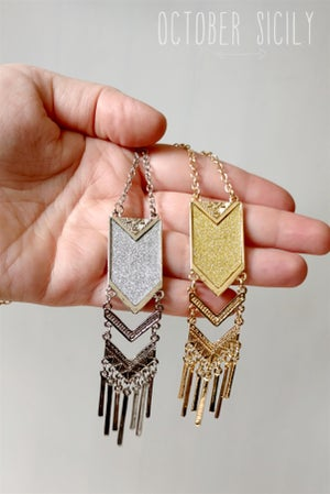 Image of Long Arrow Fringe Necklace   Gold or Silver