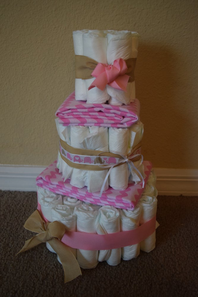 Image of 3 Tiered Elephant Themed Diaper Cake