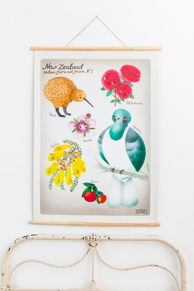 Image of New Zealand- Native Flora and Fauna .1 - (available in A2 & A1)