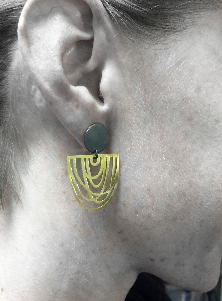 Image of Helen Black & Brass Earrings