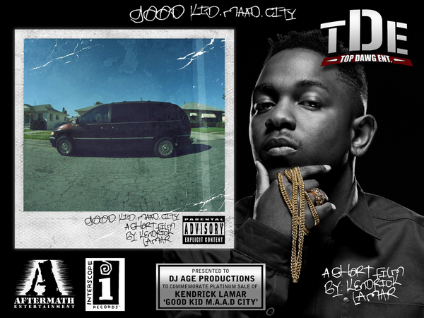 Image of Kendrick Lamar 'Good Kid MAAD City' Platinum Record Plaque