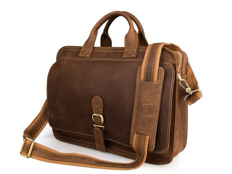 Image of Handcrafted Antique Style Top Grain Leather Mens Briefcase Messenger Bag Laptop Bag 6020