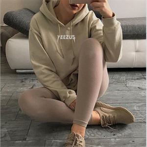 Image of Khaki bats sleeve printing hooded sweater Women