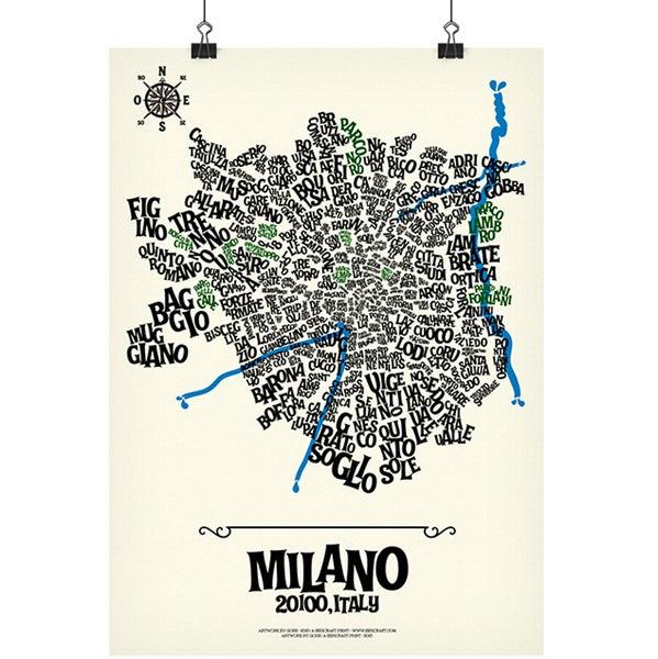 Image of MILANO - Typographic Map