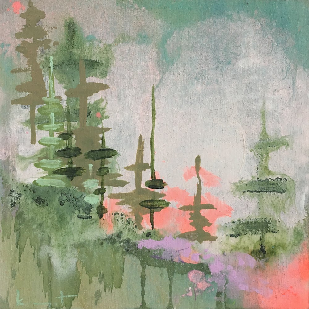 Image of tiny painting no. 54 (cloud, minty sap, soft vermillion)