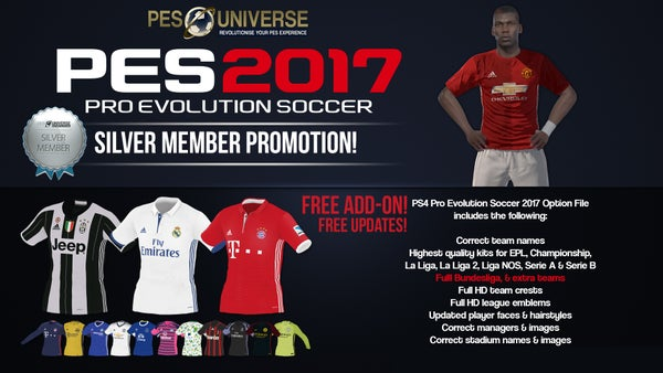Image of Silver Membership w/ PES 2017 Option File Add on!