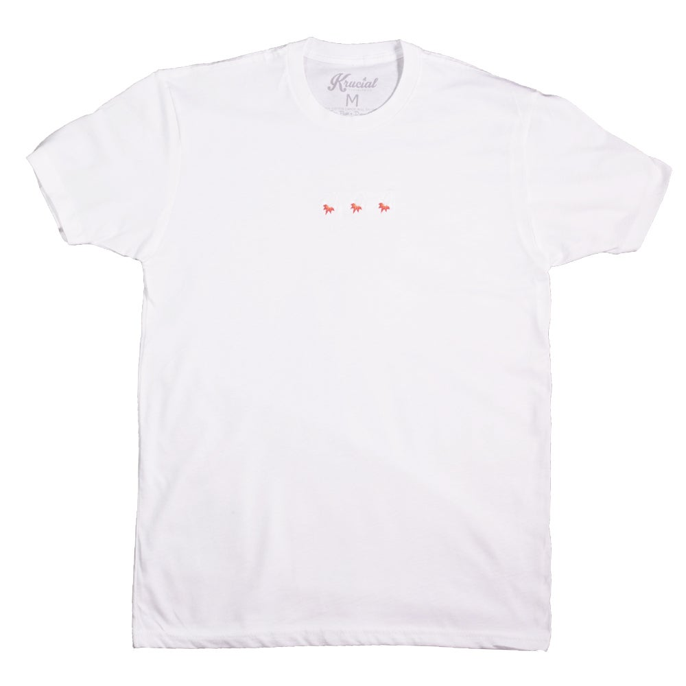 Image of Triple Rocket Embroidered Tee (White)