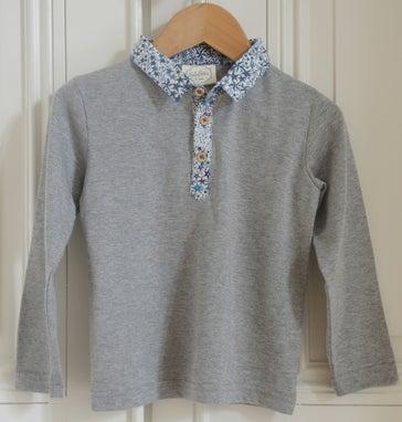 """Image of AW1617 <> Tshirt polo bébé garçon """"JO Chiné Liberty Étoiles"""" manches longues"""