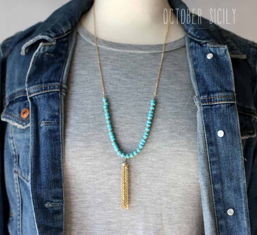 Image of Aqua Gold Fringe Necklace