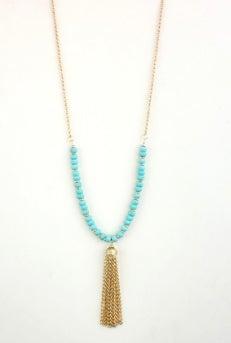 Image of Aqua Gold Fringe Necklace