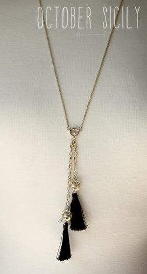 Image of Long Black Tassel Necklace
