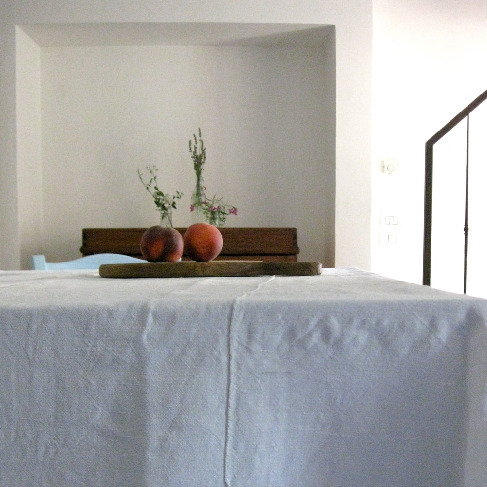 Image of Italian Vintage Linen Bedcover Tablecloth (Ana)