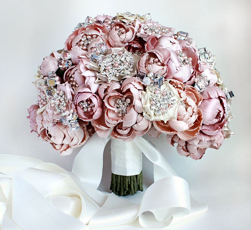 Image of Couture Blush and Ivory Silk Fabric Flower Crystal and Pearl Bouquet