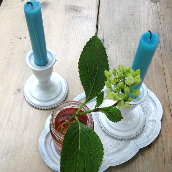 Image of 2 Short Painted White Enamel Candleholders