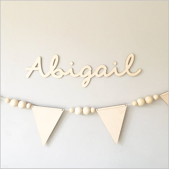 Image of custom birch plywood name sign
