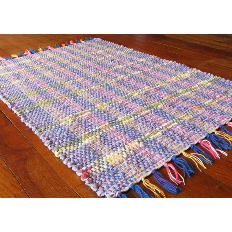 Image of Rag Rug - Lavender, yellow, sage green / Handwoven / Eco-Friendly, upcycled