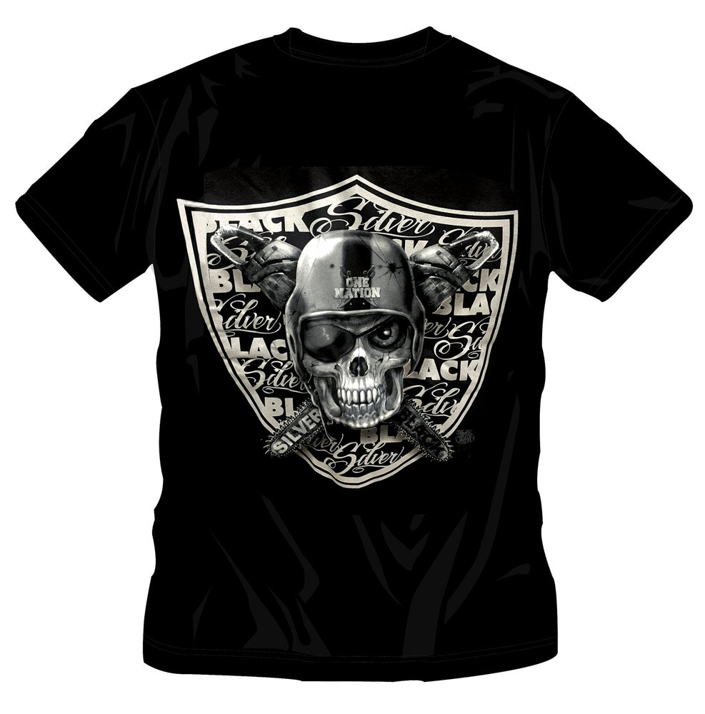 Image of SILVER/BLACK  - ONE NATION T-SHIRT