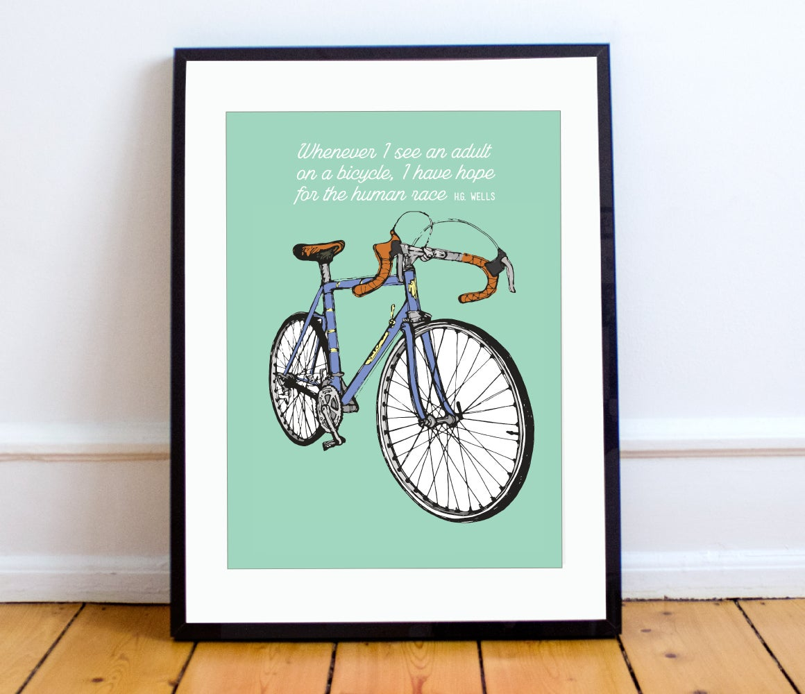 green bike print a4 or a3 pedalare shop. Black Bedroom Furniture Sets. Home Design Ideas
