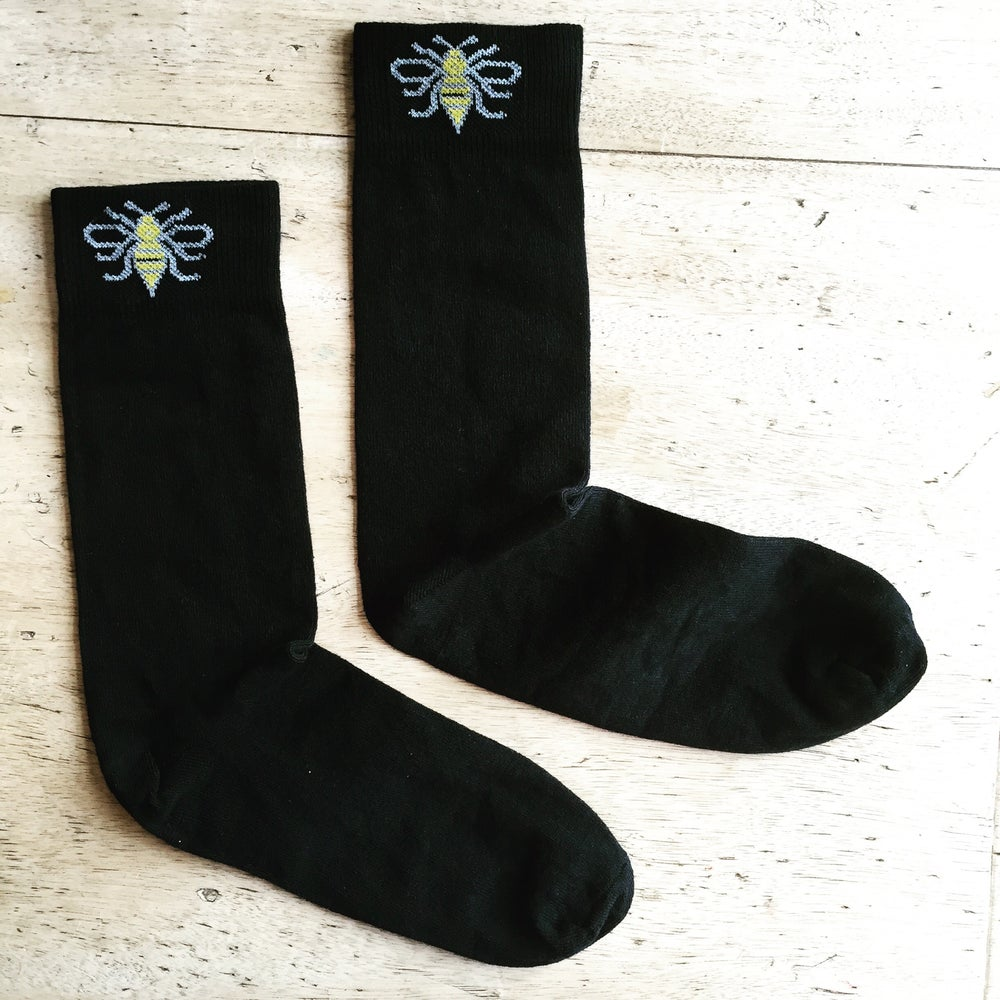 Image of Manchester Bee Socks in Black Cotton