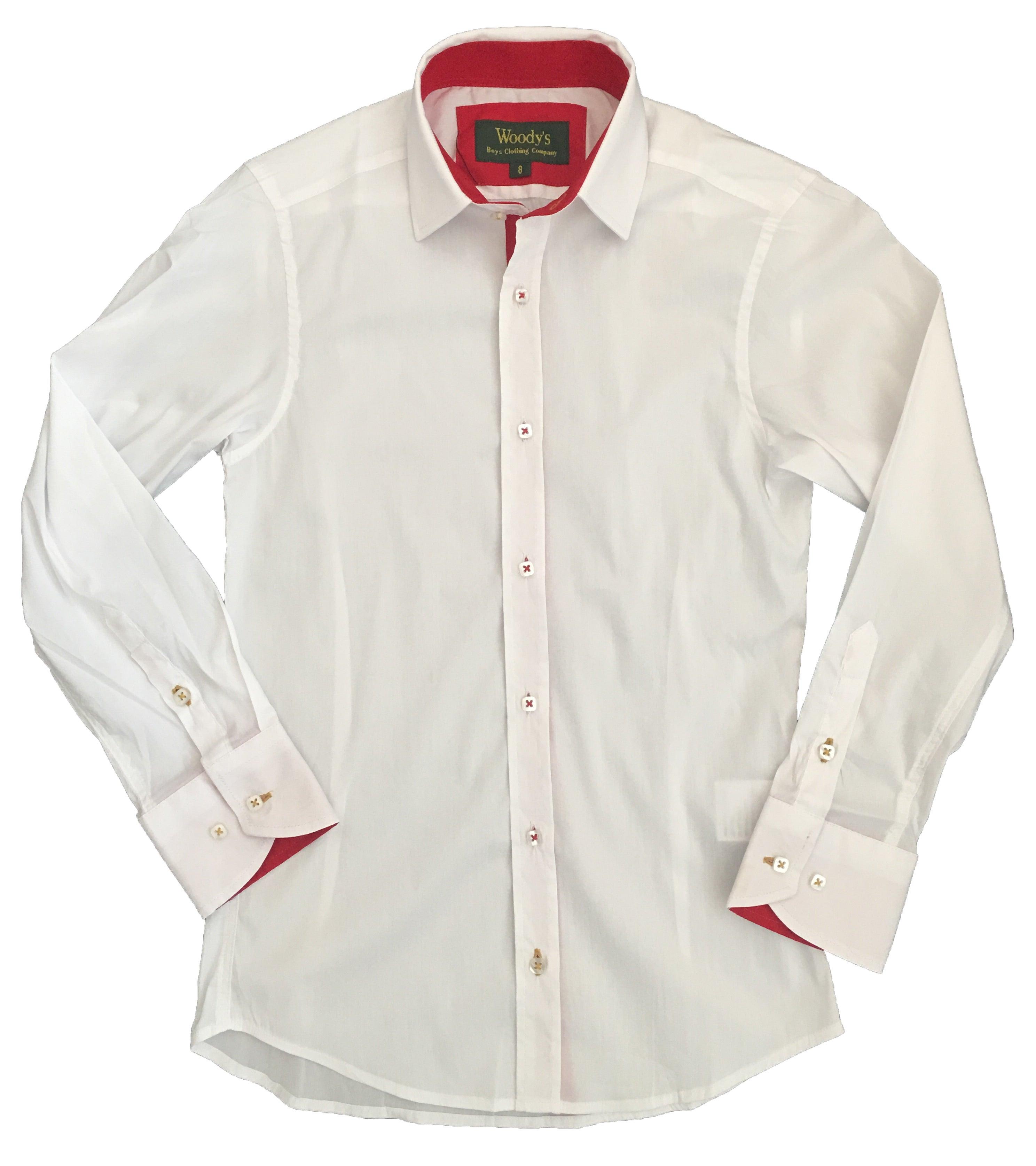 White w/Red Trim Party Shirt / Woodys Boyswear