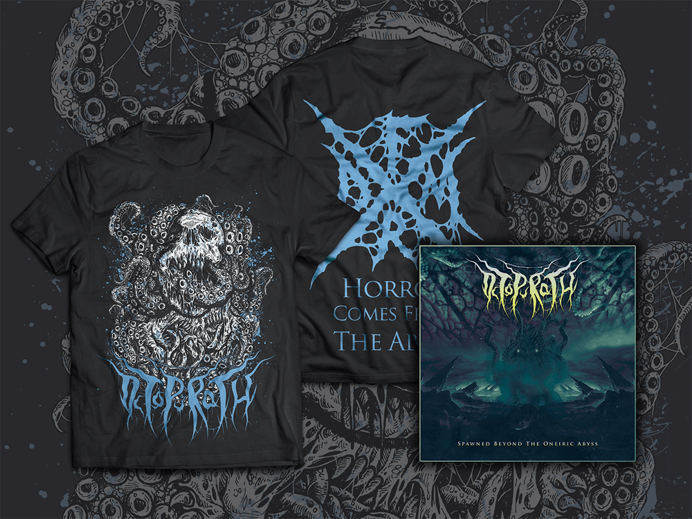 "Image of T-Shirt ""Horror Comes From The Abyss"" + EP ""Spawned Beyond The Oneiric Abyss"""