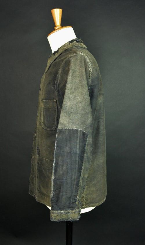 Image of 1930'S FRENCH BLACK MOLESKIN WORK JACKET YELLOW PATINA