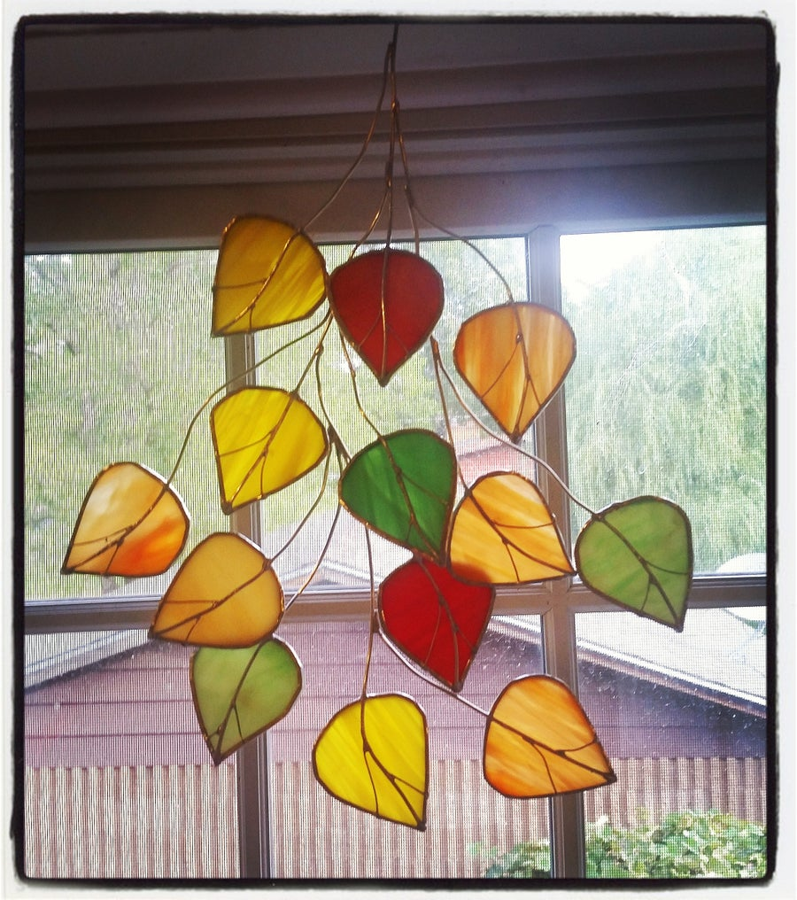 Image of Aspen Leaf Collage - stained glass