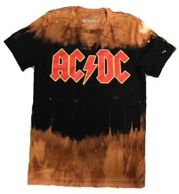 """Image of Rock Hard """"ACDC"""" Bleached Short Sleeve T"""